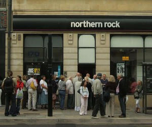 Customers outside a branch of Northern Rock in Brighton, September 2007