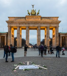 The Brandenburger Tor, Berlin with makeshift Mediterranean refugee memorial